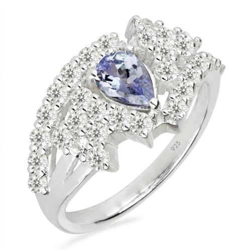 TANZANITE SILVER RING WITH WHITE ZIRCON #VR019957