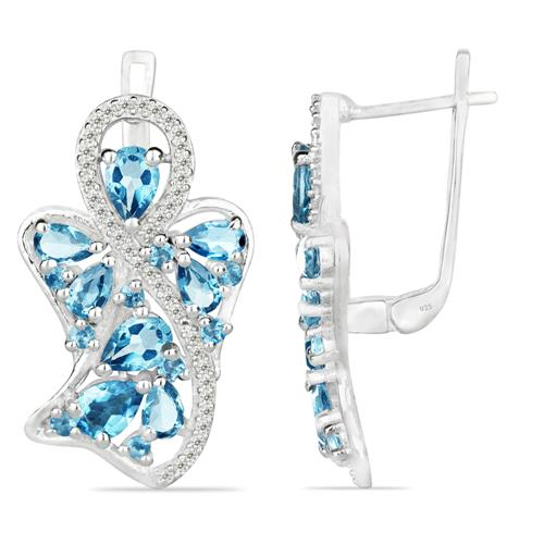 SWISS BLUE TOPAZ SILVER EARRING WITH WHITE ZIRCON #VE025276