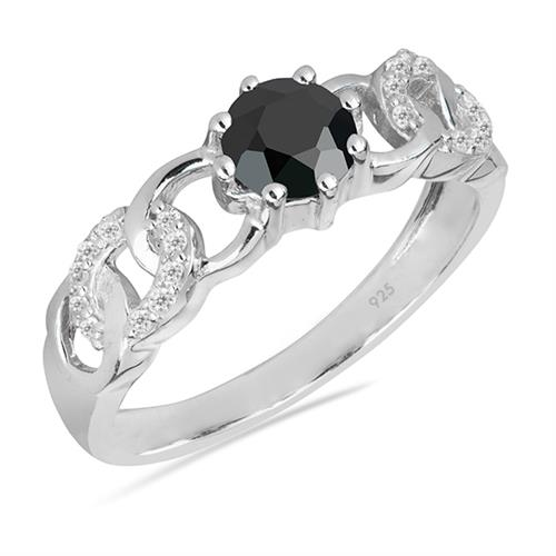 BLACK ONYX SILVER RING WITH WHITE ZIRCON #VR025756