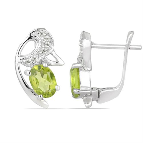 PERIDOT SILVER EARRING WITH WHITE ZIRCON #VE026171