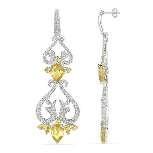 CITRINE SILVER EARRING WITH WHITE ZIRCON #VE025751