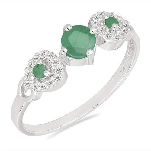 EMERALD SILVER RING WITH WHITE ZIRCON #VR021695