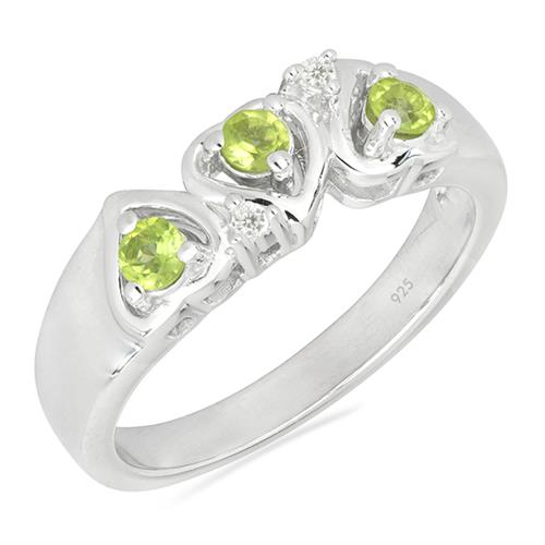 PERIDOT SILVER RING WITH WHITE ZIRCON #VR026267