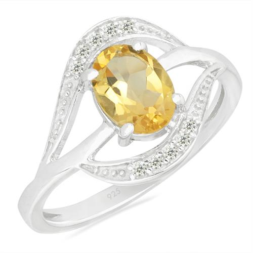 CITRINE SILVER RING WITH WHITE ZIRCON #VR026340