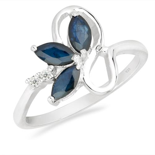 BLUE SAPPHIRE SILVER RING WITH WHITE ZIRCON #VR026114