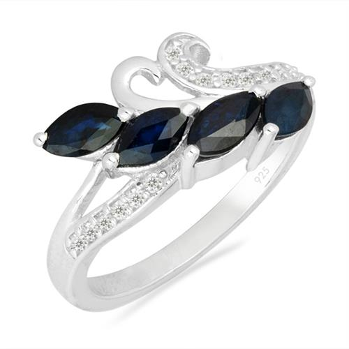 BLUE SAPPHIRE SILVER RING WITH WHITE ZIRCON #VR026347