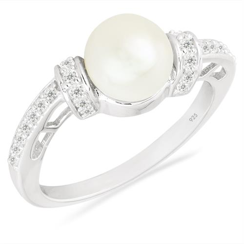 WHITE PEARL SILVER RING WITH WHITE ZIRCON #VR026009