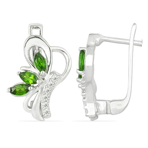 CHROME DIOPSITE SILVER EARRING WITH WHITE ZIRCON #VE026339