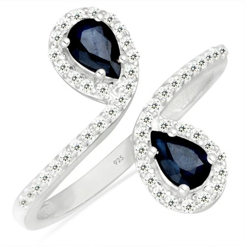 BLUE SAPPHIRE SILVER RING WITH WHITE ZIRCON #VR026111