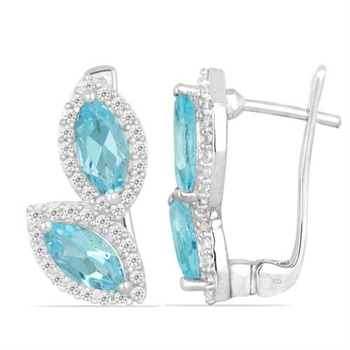SWISS BLUE TOPAZ SILVER EARRING WITH WHITE ZIRCON #VE025801