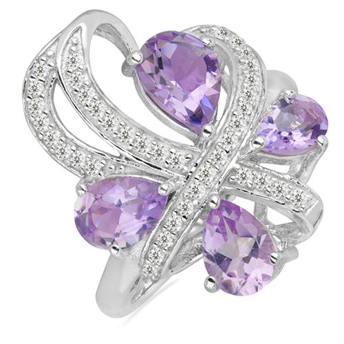PINK AMETHYST SILVER RING WITH WHITE ZIRCON #VR026285