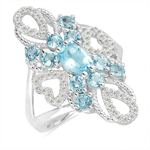 SKY BLUE TOPAZ SILVER RING WITH WHITE ZIRCON #VR026003