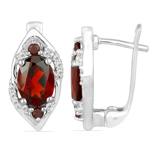 GARNET SILVER EARRING WITH WHITE ZIRCON #VE022098