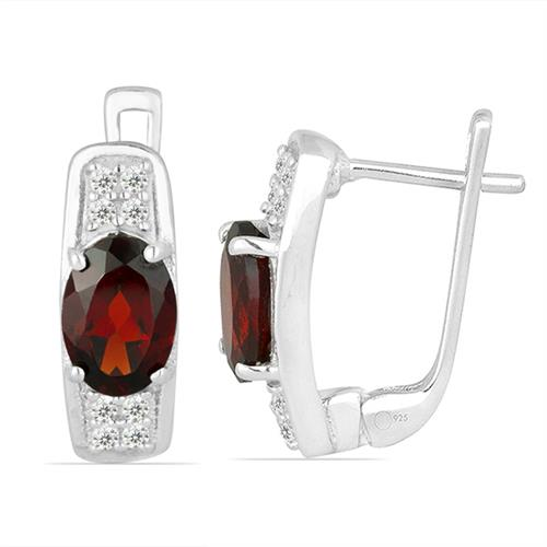 RED GARNET SILVER EARRING WITH WHITE ZIRCON #VE013868