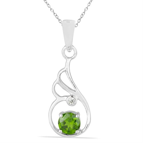 CHROME DIOPSITE SILVER PEDANT WITH WHITE ZIRCON #VP026584