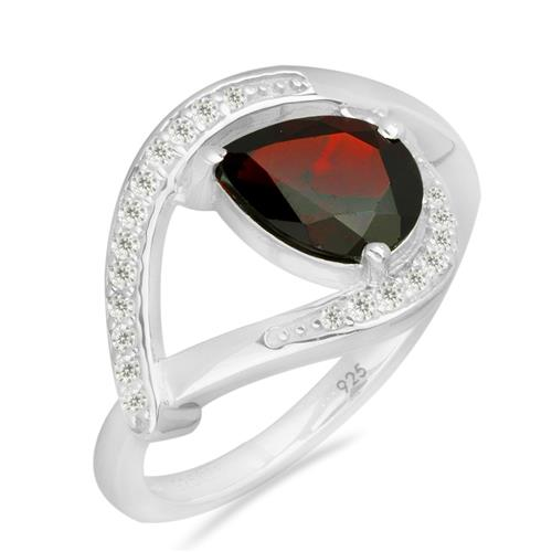 GARNET SILVER RING WITH WHITE ZIRCON #VR026447
