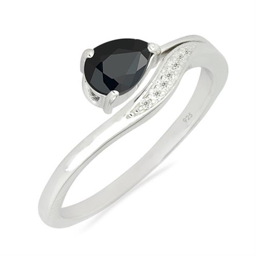 BLACK ONYX SILVER RING WHITE ZIRCON #VR026631