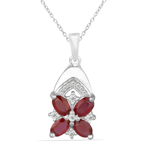 RUBY SILVER PENDANT WITH WHITE ZIRCON #VP014277