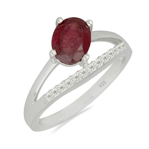 INDIAN RUBY SILVER RING WITH WHITE ZIRCON #VR026628