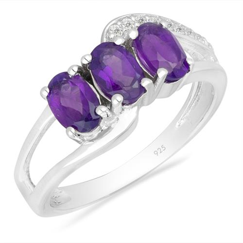 AFRICAN AMETHYST SILVER RING WITH WHITE ZIRCON #VR026439