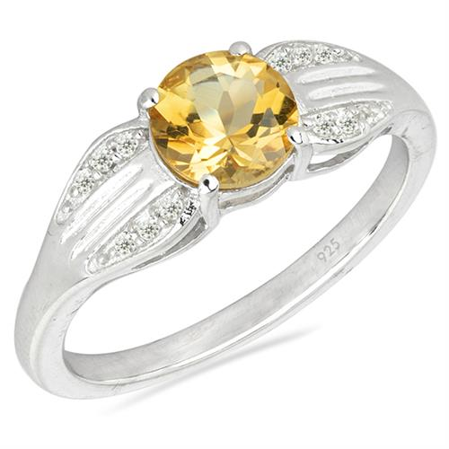 CITRINE SILVER RING WITH WHITE ZIRCON