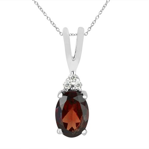 GARNET SILVER PENDANT WITH WHITE ZIRCON #VP018493