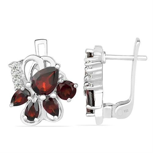 GARNET SILVER EARRING WITH WHITE ZIRCON #VE013851