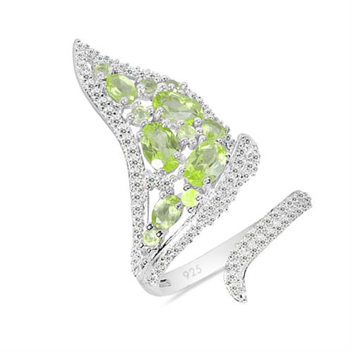 PERIDOT SILVER RING WITH WHITE ZIRCON #VR025371