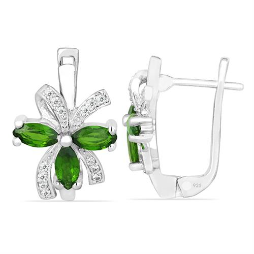 CHROME DIOPSITE SILVER EARRING WITH WHITE ZIRCON #VE026541