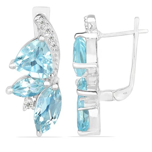 SKY BLUE TOPAZ SILVER EARRING WITH WHITE ZIRCON #VE010438