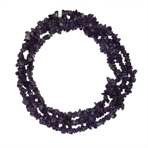 AFRICAN AMETHYST 32 - 34 INCHES NUGGETS NECKLACE #VBJ010002