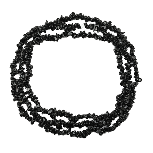 NATURAL BLACK ONYX 32 - 34 INCHES NUGGET NECKLACE #VBJ010006