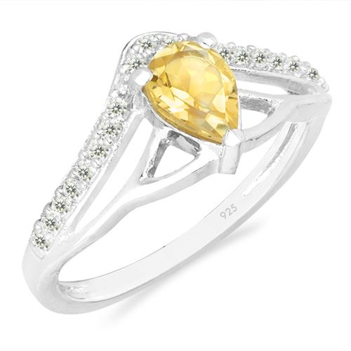 CITRINE SILVER RING WITH WHITE ZIRCON #VR026437