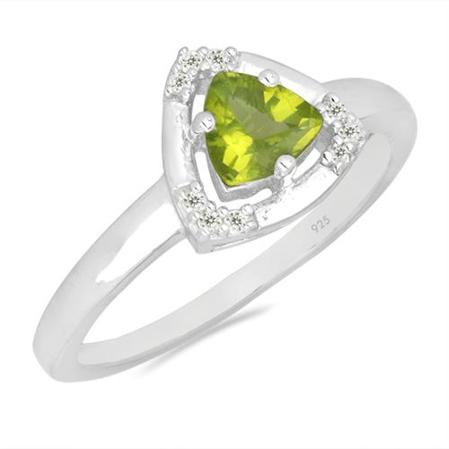 PERIDOT SILVER RING WITH WHITE ZIRCON #VR026678