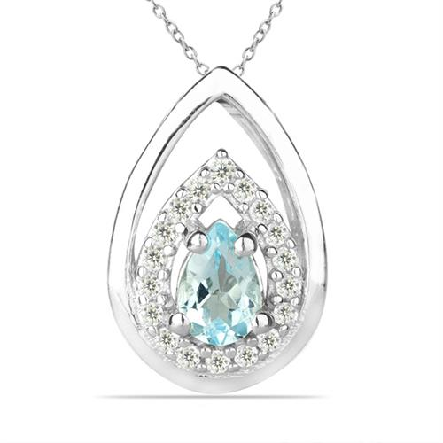 SKY BLUE TOPAZ SILVER PENDANT WITH WHITE ZIRCON #VP026951
