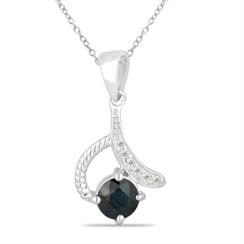 BLACK SAPPHIRE SILVER PENDANT WITH WHITE ZIRCON #VP026632