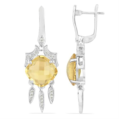 CITRINE SILVER EARRING WITH WHITE ZIRCON #VE024583