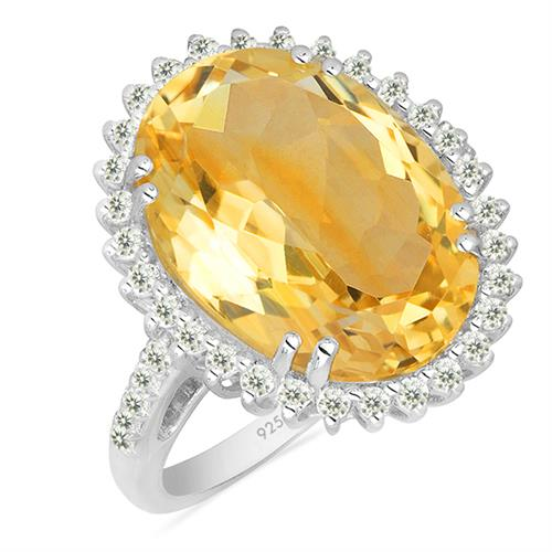 CITRINE SILVER RING WITH WHITE ZIRCON #VR025111