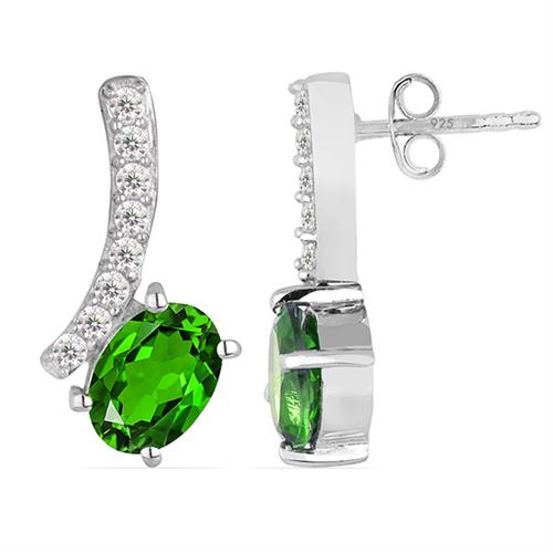 CHROME DIOPSITE SILVER EARRING WITH WHITE ZIRCON #VE013669