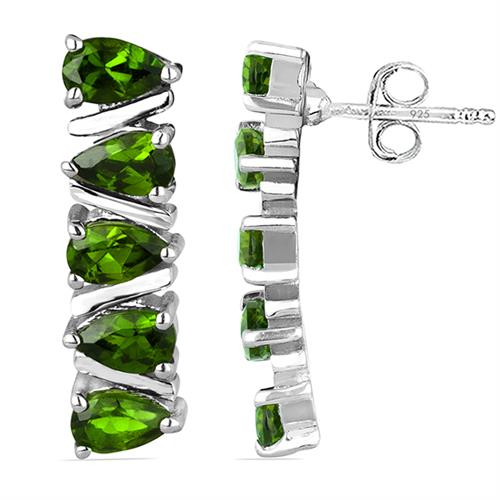 CHROME DIOPSITE SILVER EARRING #VE019948