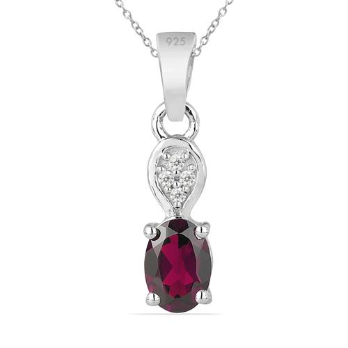 RHODOLITE SILVER PENDANT WITH WHITE ZIRCON #VP014167