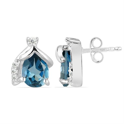 LONDON BLUE TOPAZ SILVER EARRING #VE021162