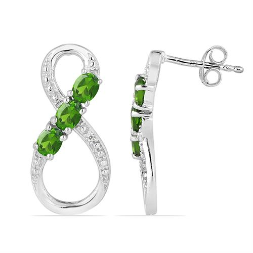 CHROME DIOPSITE  SILVER EARRING #VE016730