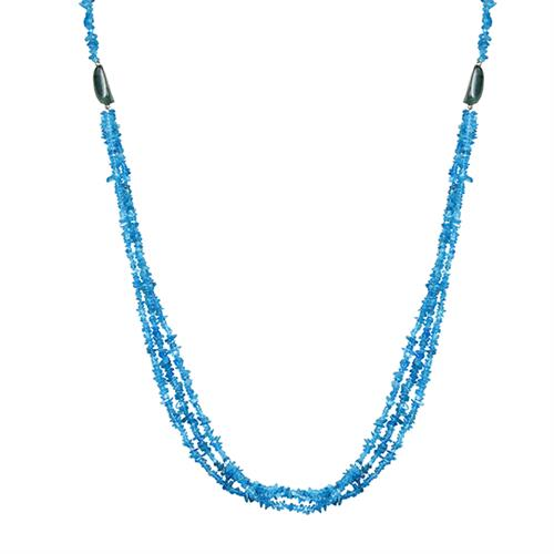 NATURAL NEON APATITE NUGGETS WITH NATURAL EMERALD TUMBLE 34 INCHES NECKLACE #VBJ010031
