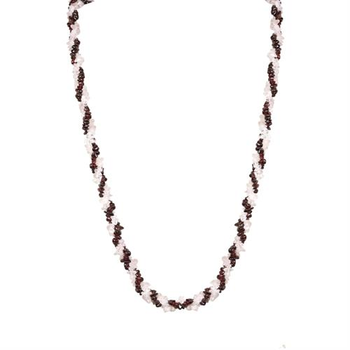 NATURAL GARNET AND ROSE QUARTZ NUGGETS 32 INCHES NECKLACE #VE010032