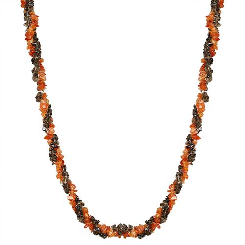 NATURAL CARNELIAN AND SMOKY NUGGETS 32 INCHES NECKLACE #VBJ010035