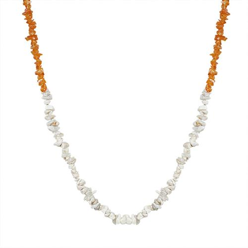 NATURAL WHITE OPAL AND CARNELIAN NUGGETS 32 INCHES NECKLACE
