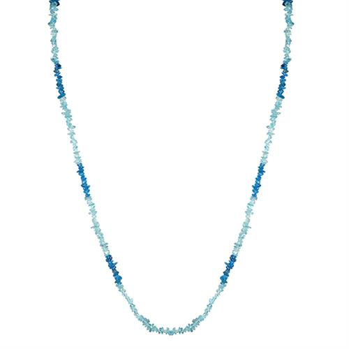 NATURAL NEON AND SKY APATITE DUAL COLOR 36 INCHES NUGGETS NECKLACE #VBJ010037