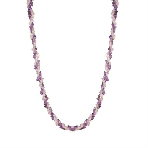 NATURAL AMETHYST AND ROSE QUARTZ NUGGETS 32 INCHES NECKLACE #VBJ010038