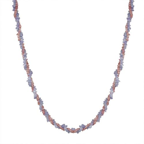 NATURAL PINK TOURMALINE AND TANZANITE NUGGETS 32 INCHES NECKLACE